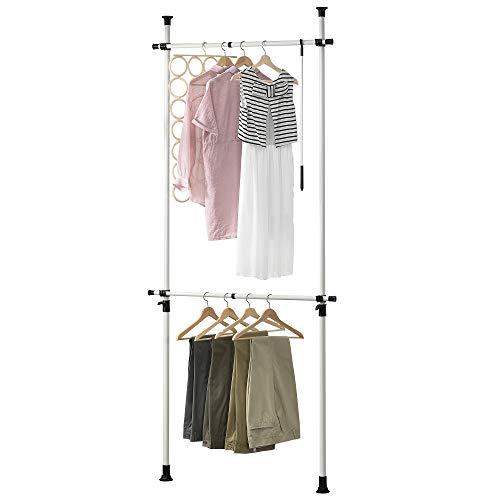 [en.casa] Teleskop Garderobe Kleiderstange - Größe verstellbar - Garderobenständer Stange Kleiderschrank Kleiderhänger