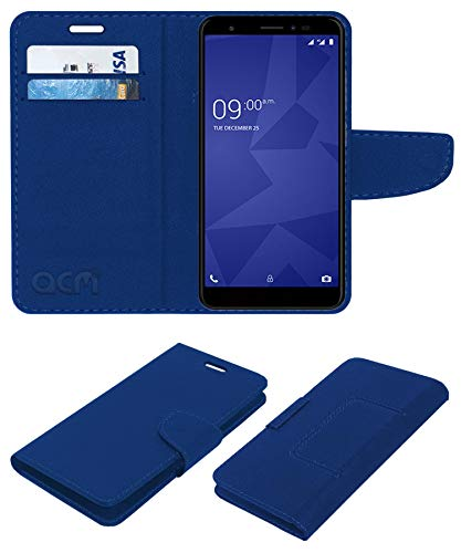Acm Leather Flip Wallet Front & Back Case Compatible with Xolo Era 4X Mobile Cover Blue