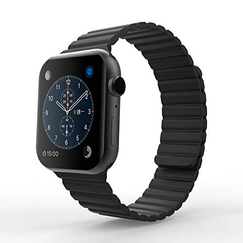 MIAODAM Sport Bands Compatible for Apple Watch Series 44mm 42mm 40mm 38mm, Sport Loop Magnetic Wristband Replacement Band for iWatch Series 6/5/4/3/2/1/SE (Black, 42mm / 44mm - Regular)