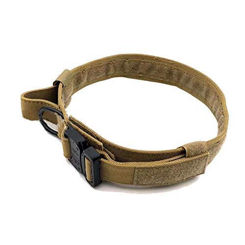 Collar táctico para Perros de Nylon Ajustable Collar Entrenamiento Militar para Perros con Anillo en D de Metal y Hebilla con Mango Ning L