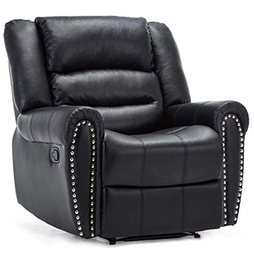 More4Homes DENVER BONDED LEATHER RECLINER ARMCHAIR w STUD SOFA HOME LOUNGE CHAIR RECLINING (Black)