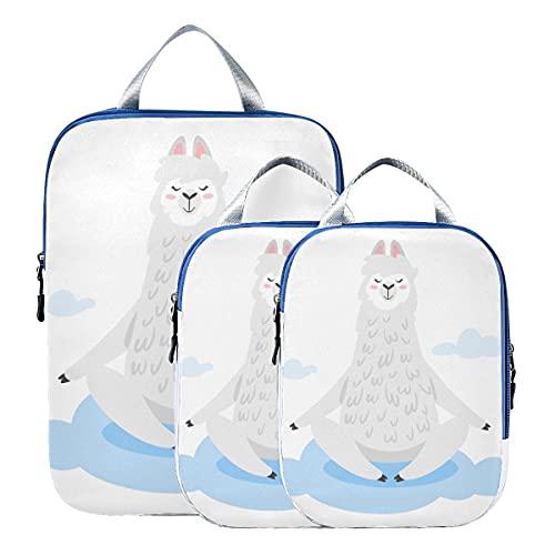 Organizador de viaje, juego de cubos de embalaje de viaje de llama de alpaca humorística de dibujos animados, organizador de equipaje de viaje expandible para equipaje de mano, viaje (juego de 3)