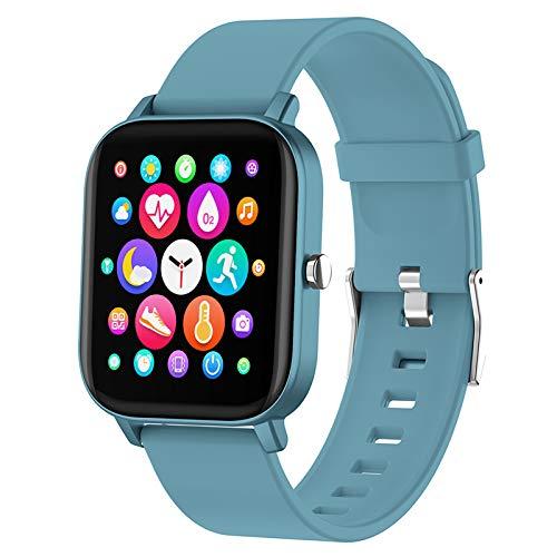 PUBU Reloj inteligente, pantalla táctil a color, reloj de pulsera de fitness con pulsómetro, rastreador de fitness IP69, resistente al agua, Bluetooth, podómetro