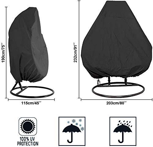 MAQRLT Egg Chair Cover, Outdoor-Schaukel Stuhl Eggshell Dust Cover 210D Schwarz Oxford Cloth Heavy-Duty-wasserdichte Balkon Cocoon Egg Chair Garten