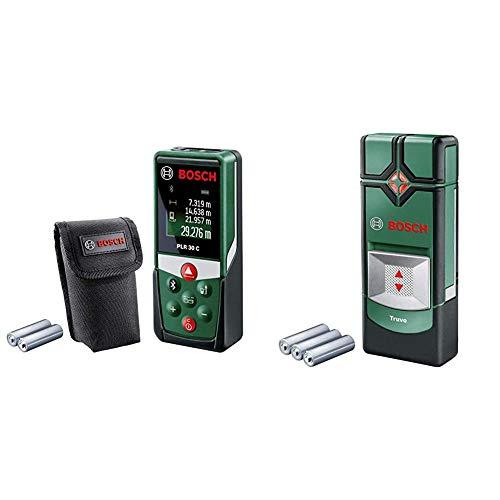 Bosch Entfernungsmesser PLR 30 C (Messbereich: 0,05–30 m, Genauigkeit: ± 2 mm) & Ortungsgerät Truvo (3 x AAA Batterien, Erfassungstiefe Stahl/Kupfer/stromführende Leitungen max. 70/60/50 mm)