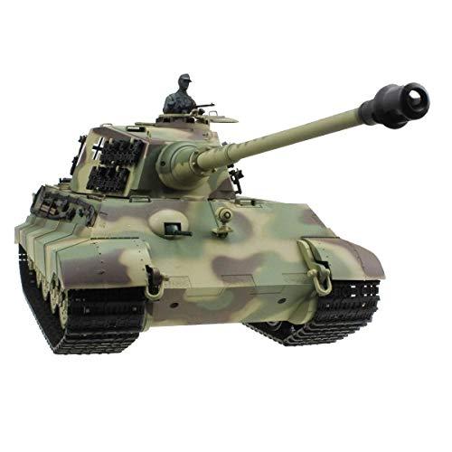 AEDWQ RC Panzer, 1/16 Deutscher König Tiger Heavy Tank Heng Long 2,4 GHz Fernbedienung 360 Grad Manövrieren, Metall, Stahl, Getriebe, Simulation Sound/Aktion Und Rauch, Schießen BB Eier
