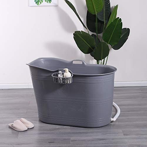 Schwänlein® Mobile Badewanne, Ideal für das kleines Badezimmer, 99x52x65cm, Stylisch und Stimmungsvoll (Grau)