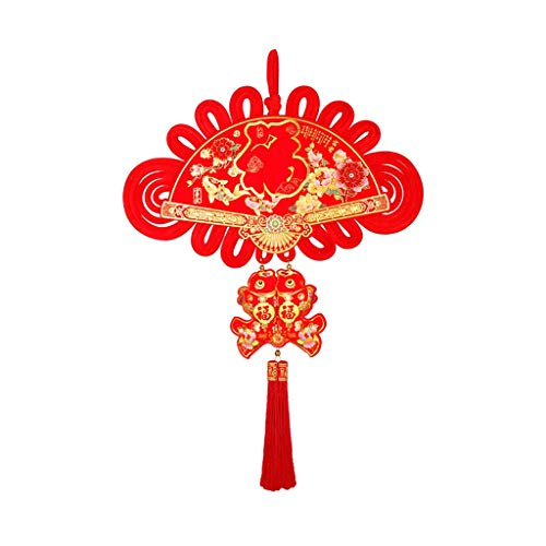 NYKK Tassel Pendant Chinese Knot Pendant TV Background Wall Decoration Pendant Mural Living Room Three-dimensional Blessing Fan-shaped Pendant Chinese Knot