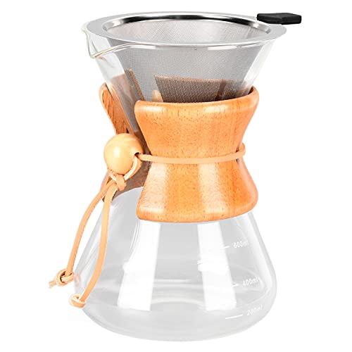Gotero para cafetera de vidrio de borosilicato con filtro, para uso general, resistente, duradero, resistente al óxido, resistente al calor, de gran capacidad, portátil(600 ml)