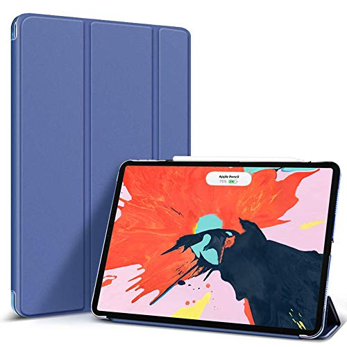 BLITY Case for iPad Pro 12.9 2020, PU Leather Trifold Stand Slim Fit Smart Cover [Support Apple Pencil 2 Charging] with Hard Back Case for Apple iPad Pro 12.9 (4th Generation 2020)(Navy Blue)