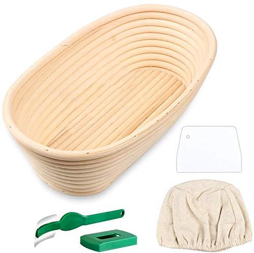 TIZJ Oval Bread Proofing Basket, Handmade Banneton Bread Proofing Basket Brotform with Bread Lame, Dough Scraper, Proofing Cloth Line
