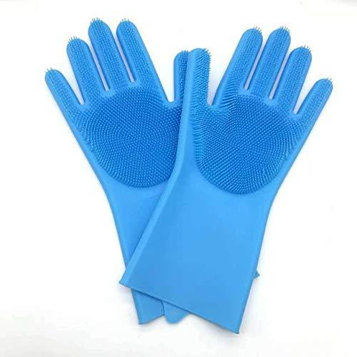 Esponja mágica de Silicona para Lavar Platos, Esponja para Lavar Platos, Guantes de Goma para Fregar, Limpieza de Cocina, 1 par-Blue-1 Pair