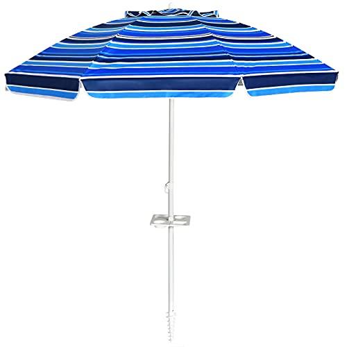 COSTWAY Ombrellone da Spiaggia 2,2 m, Ombrellone Tondo con Protezione Solare, Ombrellone Portabile con Borsa di Trasporto (Blu Navy)