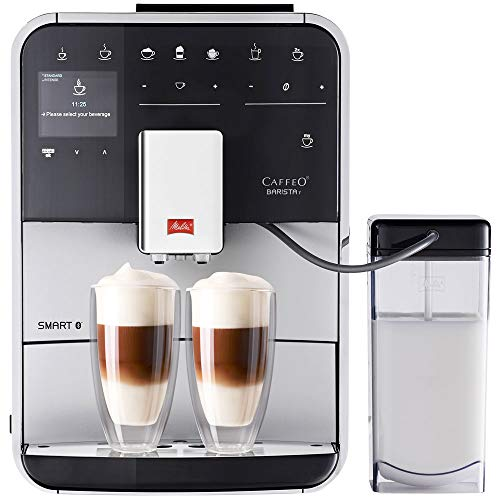 Melitta Caffeo Basista T Smart F831-101, Cafetera Superautomática, Molinillo Silencioso, Pantalla Táctil, 18 Recetas Predefinidas, Contenedor de Leche Externo, Plata