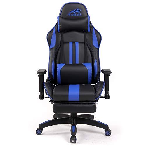 Ramroxx 37937 Gamingstuhl eSport Chefsessel Sportsitz Bürostuhl Schwarz Blau mit Fußstütze