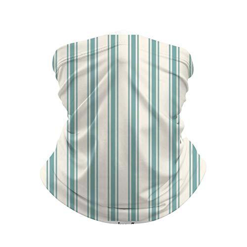 Daisylove Clásico patrón de rayas verde y crema polaina para el cuello máscara bandana calentador de cuello frío resistente al viento ligero bufanda de seda de hielo para hombres y mujeres