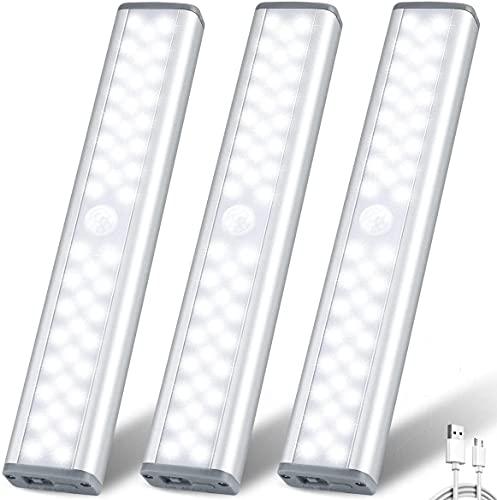 ZHENREN - Luz LED para armario con sensor de movimiento de 46 ledes, luz inalámbrica recargable debajo del armario, luz regulable para...