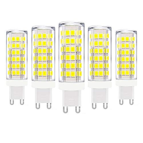 ZFQ Lampadine a LED G9 Senza Sfarfallio, Senza Stroboscopico, con Base in Ceramica, 9W, Equivalenti a 90W, 900LM, Bianco Freddo 6000K, Bassa Temperatura, AC 110-240 V, Non Dimmerabili, Confezione da 5