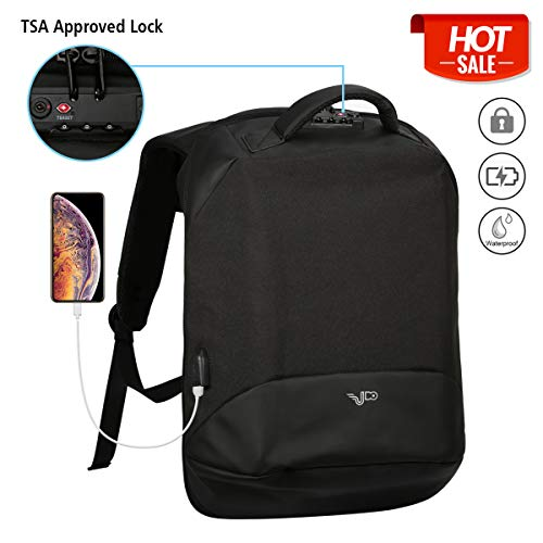 """Anti Theft Business Laptop Backpack, Travel Lightweight Laptops Bag with USB Charging Port,TSA Approved Lock, College School Computer Backpack or Women & Men Fits 17"""" Laptop and Notebook - Black"""