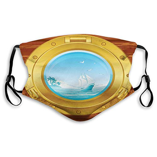 Women Men Multifunctional Half Face Bandana Reusable 3D Print Breathable Dust Protective Face Covering, Stretchy, Brass Porthole on a Wooden Penal Palm Trees Island Birds