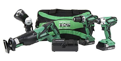 Hitachi KC18DG4L - Kit combinado inalámbrico de 4 piezas, taladro de martillo, destornillador de impacto, sierra de receta, linterna, 2 baterías compactas de iones de litio de 3,0 Ah, garantía de herramienta de por vid
