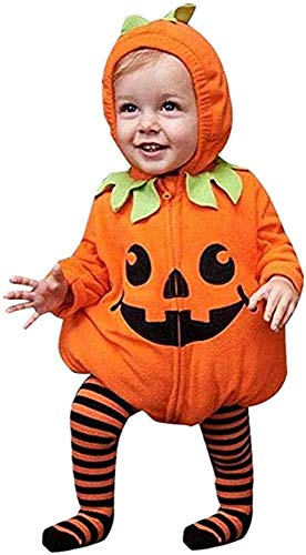 Infant Toddler Baby Girls Boys Halloween Pumpkin Costumes Cute Hooded Romper Top Leggings Pants Outfit Clothes Set (12-18 Months, Orange Hoodie+stripe Pants)