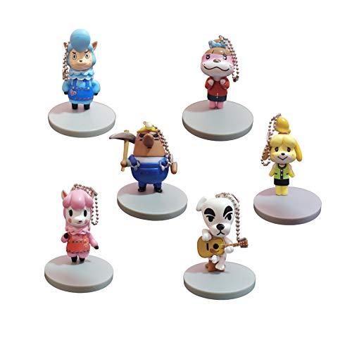 Juego llaveros Animal Crossing Juego de Llavero de 6 Piezas, Nueva muñeca Animal Crossing Peripheral Cixi Shihui kk Perro Juguete muñeca Colgante