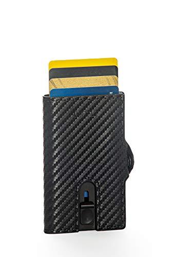 Porta Carte Di Credito Carbonio RAFTECH V2, Porta Carte Di Credito Nero Schermato RFID, Porta Carte Carbonio RFID Uomo, Porta Tessere.