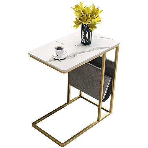 FSYGZJ Mesa de sofá de mármol,Marco de Metal Escritorio de Oficina en casa Mesa de Revista Oficina Dormitorio Sala de Descanso Mesa de Centro Decorativa (Color: F,Tamaño: 51 * 31 * 64 CM)