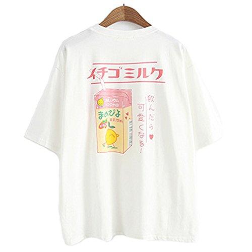 Camiseta de verano para mujer y niña, estilo japonés, de algodón Kawaii. Blanco blanco Taille unique