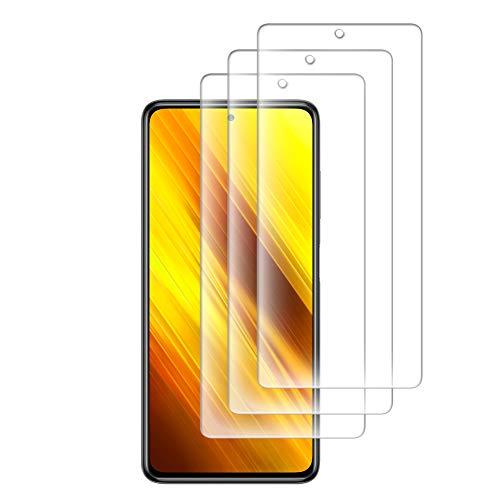 [3 Piezas] Compatible con Protector Pantalla Xiaomi Poco X3 NFC, Transparente Templado Cristal Templado Protector de Pantalla Premium 9H Dureza Alta Definicion Anti-Arañazos Sin Burbujas
