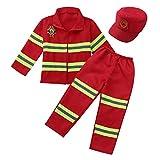 CHICTRY Unisexe Enfant Déguisement Pompier Garçons Filles Tenue Ensemble Costume de Pompier Accessoires Jeu de rôle Cosplay Carnaval Noël Cadeau Fête 4-12 Ans Rouge 5-6 Ans