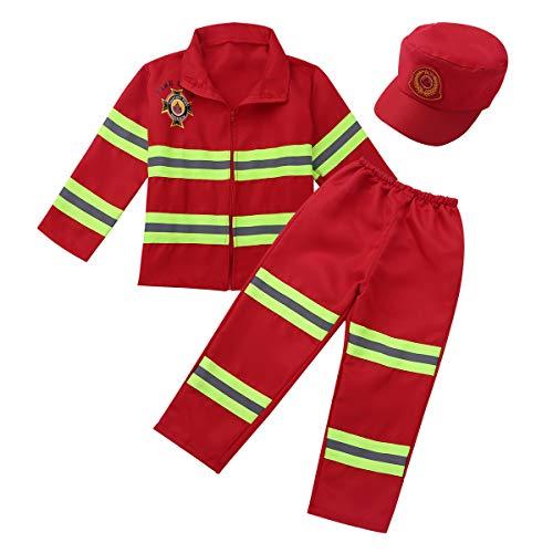 CHICTRY Unisexe Enfant Déguisement Pompier Garçons Filles Tenue Ensemble Costume de Pompier Accessoires Jeu de rôle Cosplay Carnaval Noël Cadeau Fête 4-12 Ans Rouge 4-5 Ans