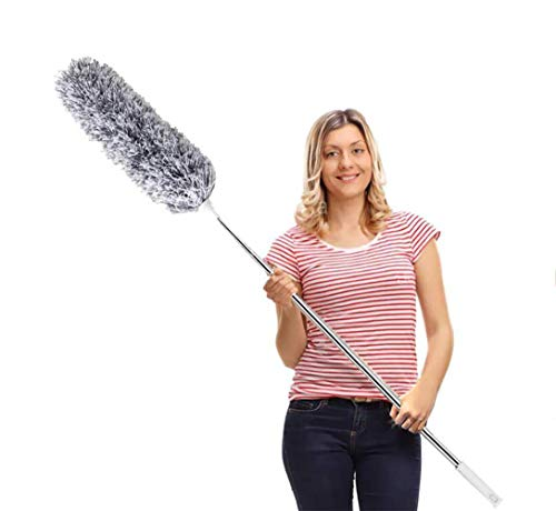 Duster with Extension Pole with Bendable Head, Extendable Duster for Cleaning Ceiling Fan, High Ceiling, Keyboard
