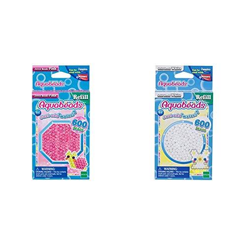 Aquabeads 32728 Glitzerperlen Bastelperlen nachfüllen pink & 32638 Perlen weiß