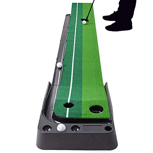 YINGJEE Alfombra de Golf, Alfombra de Putting para Práctica y Entretenimiento, Estera de Golf con Sistema de Retorno Automática de Golf, Alfombrilla 300 * 30 cm