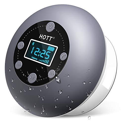 Bluetooth Lautsprecher Dusche, HOTT IPX4 Wasserdicht Tragbares Bluetooth 5.0 Boxen Musikbox, TWS Kabelloser Speaker Satter Bass Mikrofon, FM Radio für Pool, Badezimmer