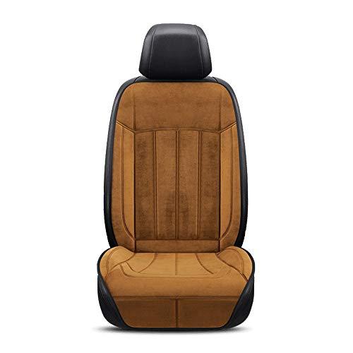 Auto Verwarming Kussen Winter, 12V 24V Universal voorstoel Verwarmde Pad, Soft Stof Verwarming Cover, warm kussen for Driver te verlichten vermoeidheid en Frozen Body (Color : Brown)