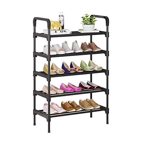 UDEAR Organizador de Zapatos de 5 Niveles, estantes de Metal de pie para 15-18 Pares de Zapatos para Sala de Estar, Entrada, Pasillo y guardarropa, Negro
