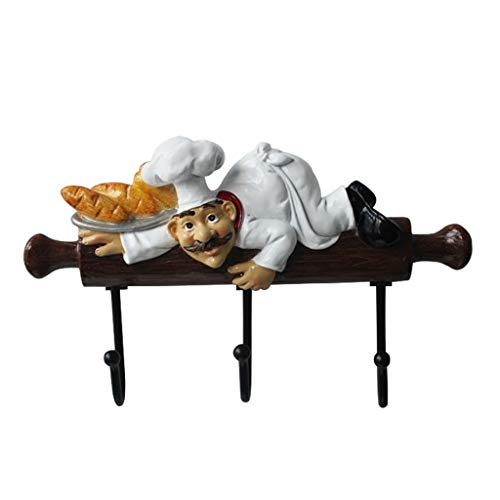 Ganchos para Abrigos Resina De Dibujos Animados Cocina Chef Estatuilla Puerta Decoración De Pared Gancho Perchero Accesorios De Decoración del Hogar Gancho De Pared Engánchate (Size : 24.5 * 14.5CM)