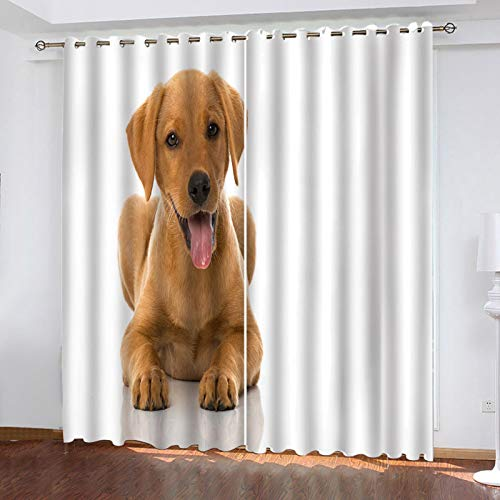 ZXPAG Blackout Curtains For Bedroom - 3D Digital Printing Perforated Energy-Saving Curtains - Living Room Children'S Room Hotel Curtains - 63X63 Inch - Cute Brown Animal Dog