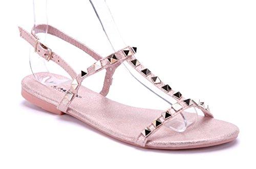 Schuhtempel24 Damen Schuhe Sandalen Sandaletten rosa flach Nieten