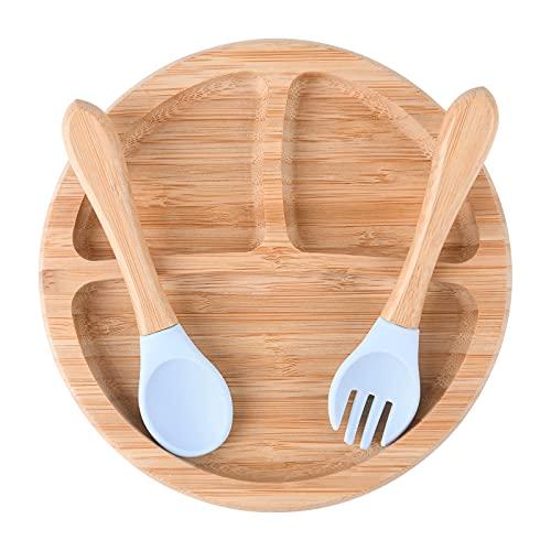 Vicloon Set Piatto per Bambini, Piatto per bambino in bambù naturale con Base a Ventosa e Forchetta e Cucchiaio, Piastra di alimentazione per neonati con design a tre zone di grande capacità (Blu)