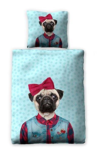 jilda-tex Bettwäsche Digitaldruck 100% Baumwolle Bettwaesche 135x200 cm + 80x80 cm Kinderbettwäsche Jugendbettwäsche (Pug Dog)