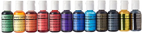 U.S. Cake Supply Airbrush Cake Color Set - The 12 Most Popular Colors in 0.7 fl. oz. (20ml) Bottles Made in the USA
