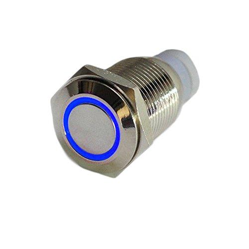 HOTSYSTEM 16mm 12V Metall Reset Taster LED Beleuchtet Drucktaster Druckknopf für Auto KFZ Blau
