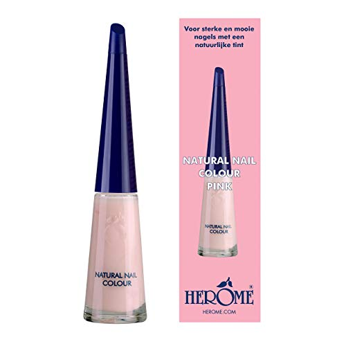 Herome Natural Nail Colour Pink mit Verstärkendem Effekt - 10ml - Nagellack Geeignet Für Eine French Manicure - Nagelverstärker Mit Einem Frischen Rosa Farbe