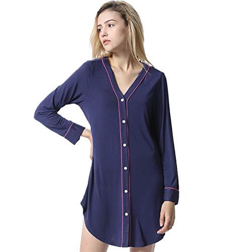 LFNIU Pijama camisero para mujer sexy falda de noche de...