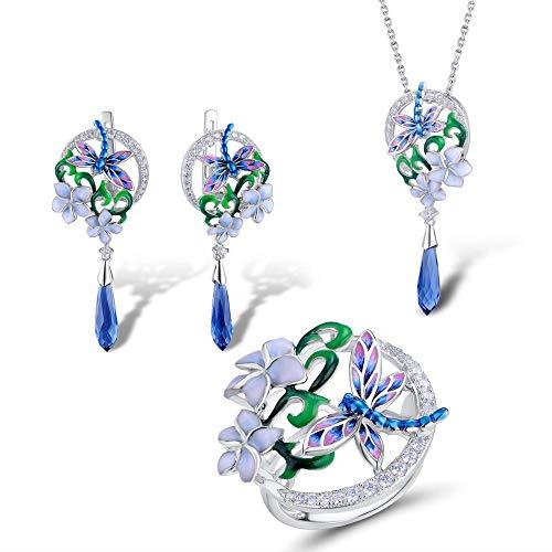 AdronQ® Conjunto de Joyas de Plata esterlina 925 para Mujer Pendientes de Anillo de Flor de libélula Conjunto de Colgante Joyería de Moda Esmalte Hecho A Mano