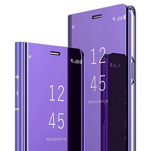 ZYZX Schutzhülle für Motorola Moto G9 Plus, Make-Up-Spiegel, luxuriöses Spiegel-Design mit Klarsicht-Ständer, vollständiger Schutz, PU-Leder, stoßfest, Flip-Handyschale für Moto G9 Plus QH, Violett